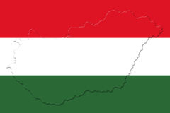 Hungarian National Flag And Map 3D illustration Stock Photography