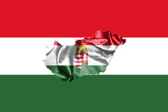Hungarian National Flag And Map Waving in the Wind 3D illustrati Royalty Free Stock Images