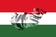 Hungarian National Flag And Map Waving in the Wind 3D illustrati Royalty Free Stock Photos