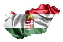 Hungarian National Flag And Map Waving in the Wind Isolated on W Royalty Free Stock Images