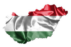 Hungarian National Flag And Map Waving in the Wind Isolated on W Stock Photography