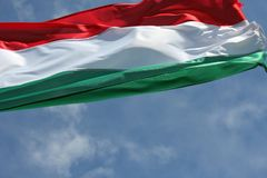 Hungarian national flag in the wind Royalty Free Stock Photography