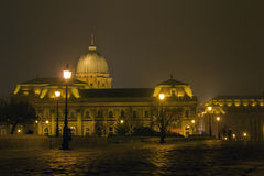 Hungarian national gallery at night, Budapest Stock Images