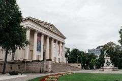 Hungarian National Museum in Budapest a cloudy day of summer. Budapest, Hungary - August 13, 2017: Hungarian National Museum in Budapest a cloudy day of summer Royalty Free Stock Images