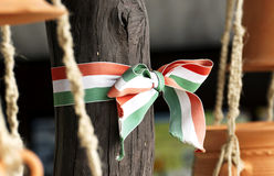 Hungarian nationals colors ribbon Royalty Free Stock Image