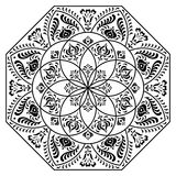 Hungarian octagon elements. Black and white Royalty Free Stock Image