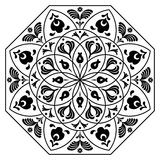 Hungarian octagon elements. Black and white Stock Photo