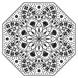 Hungarian octagon elements. Black and white Stock Image