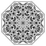 Hungarian octagon elements. Black and white Royalty Free Stock Images
