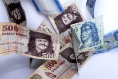 Hungarian paper forints. Hungarian money on a white background royalty free stock photography