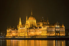 Hungarian Parlament Building at night Royalty Free Stock Image