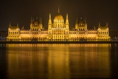Hungarian Parlament Building at night Royalty Free Stock Photography