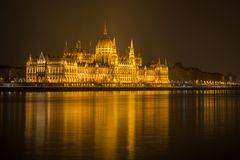 Hungarian Parlament Building at night Stock Image
