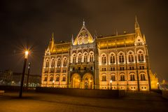 Hungarian Parlament Building at night Royalty Free Stock Images
