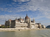 Hungarian Parliament. Building of the Parliament of Hungary, located in Budapest, seen from the river Danube Stock Photos