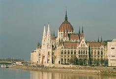 Hungarian Parliament. View of Hungarian Parliament near the Danube, Budapest, Hungary Stock Photos