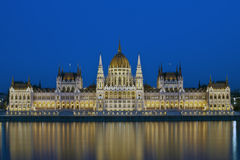 The hungarian Parliament. In Budapest at evening, Hungary, Europe Royalty Free Stock Images