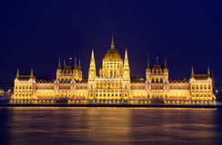 Hungarian Parliament. Building in Budapest at night Royalty Free Stock Photography