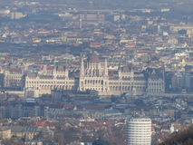 Hungarian Parliament as seen from Libegő Stock Images