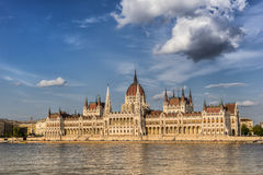 The Hungarian Parliament. On the banks of the Danube River in Budapest Stock Photo