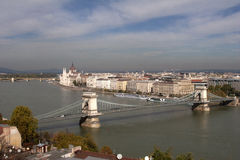 Hungarian Parliament from Buda Hill with Chain Bridge Royalty Free Stock Photos