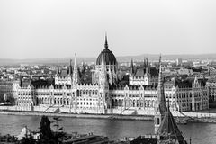 Hungarian Parliament in Budapest across the Danube Stock Images