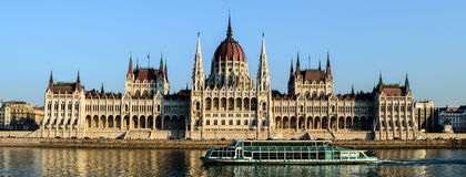 Hungarian Parliament, Budapest. Hungarian Parliament on the Danube Stock Photo