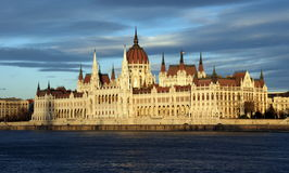 Hungarian parliament in Budapest in evening light Royalty Free Stock Photo