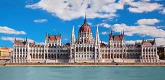 Hungarian parliament in Budapest, Hungary. Hungarian parliament building by Danube river. Budapest, Hungary Stock Photos