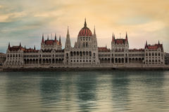Hungarian parliament, Budapest. BUDAPEST, HUNGARY - JUNE 24th, 2014: frontal view of the hungarian parliament building on the Danube River in Budapest, Hungary royalty free stock photo