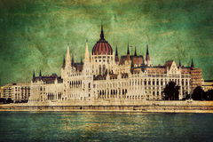 Hungarian parliament in Budapest, Hungary. Retro Royalty Free Stock Photos