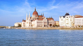 Hungarian Parliament in Budapest, Hungary. The worldwide best known building of Budapest, the Hungarian Parliament, completed in 1904 Stock Photo