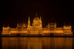 Hungarian parliament in Budapest at night. On the bord of the Danube river stock photos