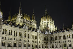 Hungarian Parliament in Budapest, at night Royalty Free Stock Photos