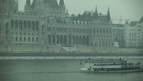 Hungarian Parliament, Budapest. Pan to the right. stock footage