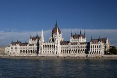 Hungarian Parliament in Budapest. View of Hungarian Parliament in Budapesrt shot  from across the Danube River Stock Photos