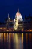 Hungarian Parliament Building. The Parliament building in Budapest, Hungary, as seen from the other side of the Danube river Royalty Free Stock Photos