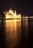 Hungarian Parliament Building as seen from Margit Hid at night Royalty Free Stock Photo