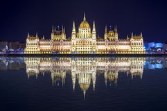 Free Hungarian Parliament Building At Night With Reflection In Danube River, Budapest, Hungary Stock Photos - 121809573