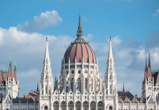 Hungarian Parliament Building on the bank of the Danube in Budapest Stock Photo
