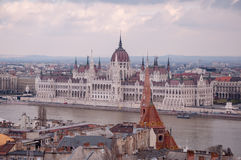 Hungarian Parliament Building on the bank of the Danube in Budapest Royalty Free Stock Photos