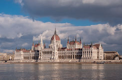 Hungarian Parliament Building on the bank of the Danube in Budapest Stock Images