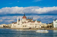 The Hungarian Parliament Building on the bank of the Danube in Budapest Stock Image
