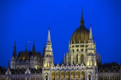 Hungarian Parliament Building by night stock photography