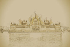 The Hungarian Parliament Building with bright and Royalty Free Stock Photos