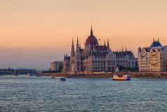 Hungarian Parliament Building in Budapest, Hungary. Colorful sunset on Hungarian Parliament Building in Budapest, Hungary royalty free stock photo