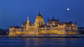 Hungarian Parliament Building in Budapest, Hungary, HDR. Hungarian Parliament Building in Budapest by night, Hungary, HDR royalty free stock image