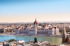 Hungarian parliament building, Budapest. BUDAPEST, HUNGARY - JUNE 24th, 2014: frontal view of the hungarian parliament building on the Danube River in Budapest stock photos