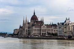 Hungarian Parliament Building. Budapest, Hungary. Hungarian Parliament Building and Margaret Bridge seen from Chain Bridge stock photos