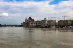 Hungarian Parliament Building. Budapest, Hungary. Hungarian Parliament Building and Margaret Bridge seen from Chain Bridge stock photo